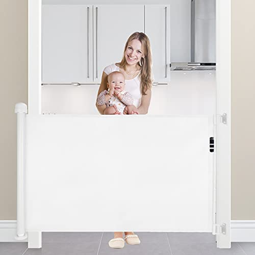 Retractable Baby Gate Mesh Safety Gate for Dog Indoor,Outdoor or Stairs 34' Tall Extends to 59' (White)