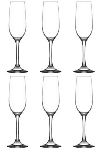 Lav (Set of 6) Champagne Flutes - Long Steam Prosecco Glasses - Sparkling Glasses - (215 cc) - (7.25 oz)