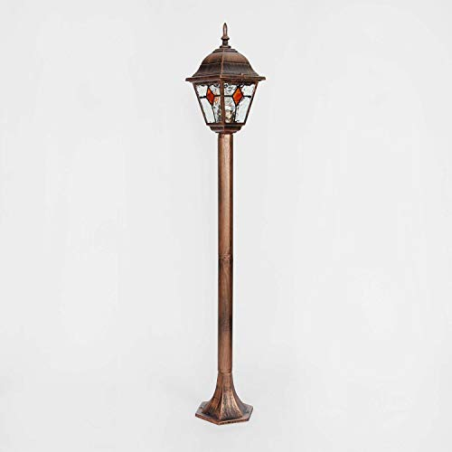 Nostalgische buitenlamp met Tiffany-glas, greep antiek rood zwart / 1,03 m hoog E27 230 V/vloerlamp buitenlamp straatverlichting tuin verlichting padverlichting