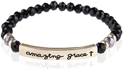 Inspiration Engraved Bar Sparkly Crystal Bead Bracelet Religious Christian Message Stretch Strand product image