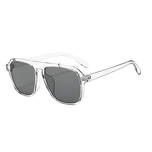 Gafas de sol de moda para hombre y mujer, gafas de sol marinas europeas y americanas, montura transparente, gris negro