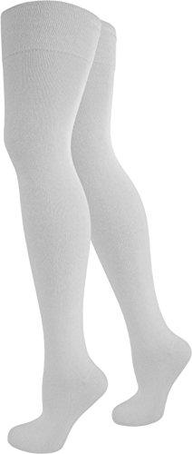normani® Damen Overknees Über-Knie Strümpfe Geringelt Farbe Weiß