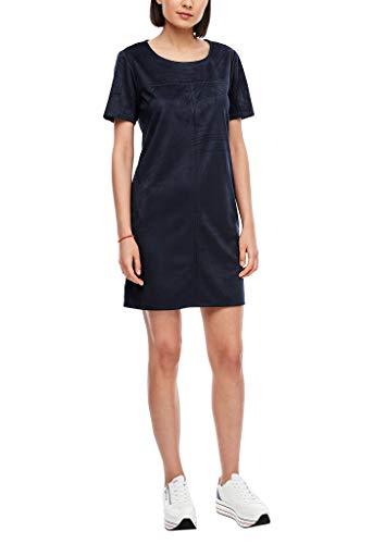 s.Oliver Damen Kurzes Kleid in Veloursleder-Optik Navy 38