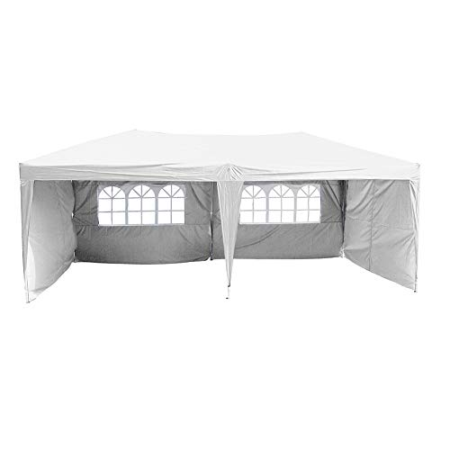 Polar Aurora 10' X 20' Easy Pop up Canopy Party Tent Outdoor Patio Wedding Party Tent Folding Waterproof w/ 4 Removable Sidewalls and Portable Bag - White