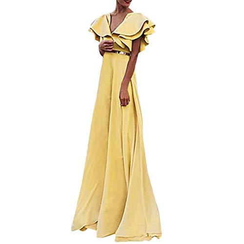 REALIKE Damen Kleid Reizvoller Rüschen Kurzarm Doppelschicht Midikleid Elegant Einfarbig Loose Hoher Taille Blusenkleid Abendkleid Partykleid Cocktailkleid Ballkleid Brautkleid