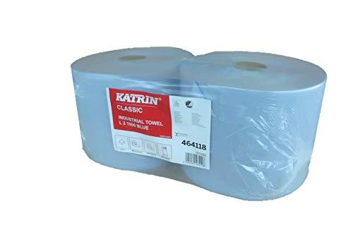 Putztuchrolle Katrin Classic L2 blau, 2-lagig, 22x38 cm, perforiert, Spiralhülse, 1000 Abrisse, 2 Rollen im Folienpack #464118