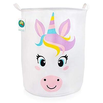 KAZULO Large Kids Toy Storage Basket, Laundry Hamper, and Bedroom Organizer for Girls, Cute Nursery Room, Bedroom, and Bathroom Decor (Unicorn Round)