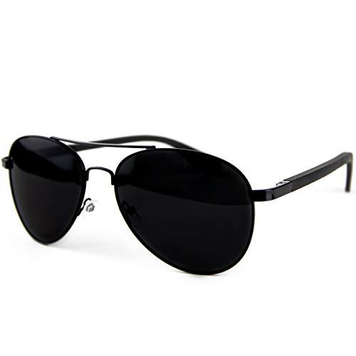 Holzwurm Sonnenbrille mit Holzbügeln aus Ebenholz für Damen & Herren/Polarisierende Brillengläser mit UV-Schutz/mit Brillenetui aus Kork (schwarz)