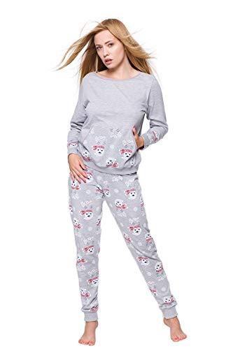 S& SENSIS edler Baumwoll-Pyjama (Made in EU) Hausanzug aus schickem Oberteil und toller Hose, Gr. 38, Grau mit Eulen
