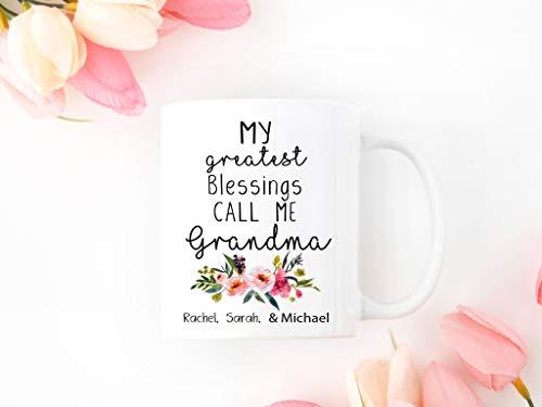 Taza de regalo para abuela, divertida regalo para abuela, My Greatest Blessings Call me Grandma - Taza personalizada para mamá