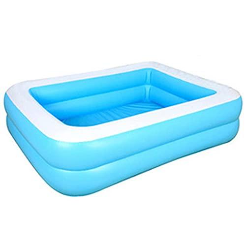 Piscina hinchable familiar azul rectangular exterior grueso fiesta de agua verano para niños comida trasera – 128 x 85 x 45 cm (128 cm)