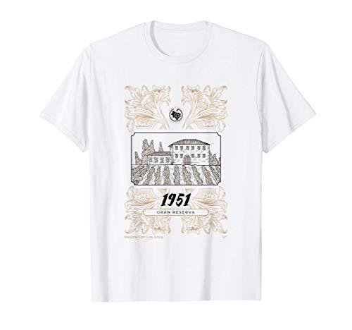 Año de Nacimiento 1951 Etiqueta de Vino Gran Reserva Camiseta
