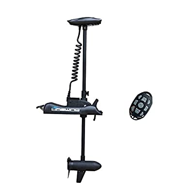 AQUOS Black Haswing 12V 55LBS 48inch Shaft Bow Mount Electric Trolling Motor Portable,Variable Speed, for Bass Fishing Boat Freshwater and Saltwater Use, Energy Saving