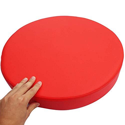 WTT stoelkussen, rond, kunstleer, verdikt, waterdicht, afneembaar, zachte zitkussens voor kantoor, auto, buiten, barkruk, kussen, rood, 40x40x5cm (16 x 16 x 2 inch)