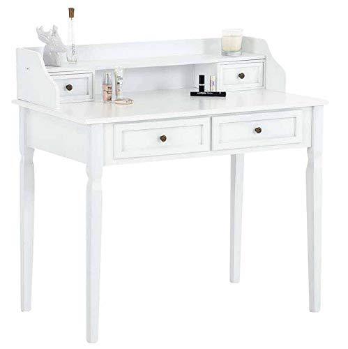 CLP Schminktisch Betty aus Pinienholz I Tisch mit Vier Schubladen I Frisierkommode in bis zu DREI Farben, Farbe:weiß
