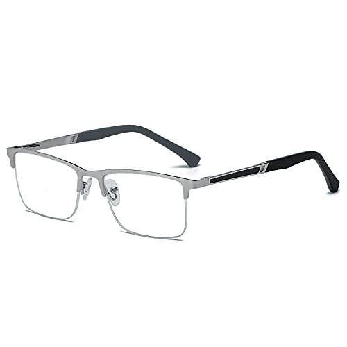 Anjing Gafas de lectura para hombres gafas de lectura calidad lectores lente de cristal le dan visión ultra clara plata metal +3