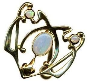 Piercing para el ombligo, oro auténtico 750, oro auténtico 750 con ópalos auténticos, tamaño: 24 x 26 mm, piercing para el ombligo, belly bananabell, moderno, exclusivo extravagante