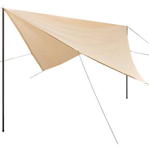 Zonnescherm tarp met palen vierkant 4x4 m HDPE crème