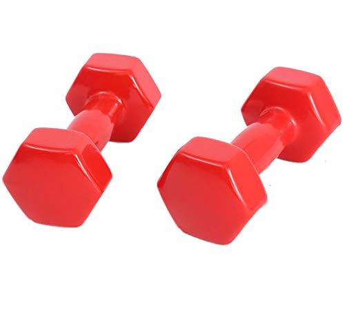 LUSTAR Juego de 2 Mancuernas, Pesas Rojas 0.5KG 1KG 1.5KG 2KG 2.5KG 3KG 4KG 5KG para Acondicionamiento Muscular General de Fitness en el Hogar,Red-(3KG*2)