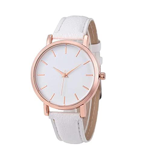 SouiWuzi Reloj Pareja Reloj Analógico Cuarzo Simple Reloj De Dial con Brazalete De Cuero Pulsera con Estilo De Pulsera Ajustable Blanco