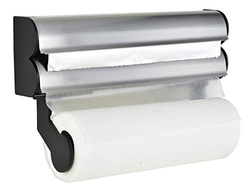 Frigidaire Paper Towel Holder Wall Mount, Foil Cutter and Plastic Wrap Dispenser