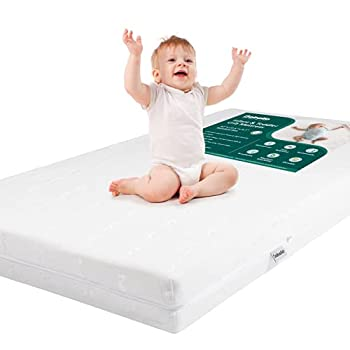 BABELIO Premium Memory Foam Crib Mattresses 2-Stage Cool Gel with Waterproof Lining & Removable Mattress Cover for Standard Crib & Toddler Bed