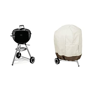 Weber 441001 Original Kettle 18-Inch Charcoal Grill & AmazonBasics Kettle Grill Cover