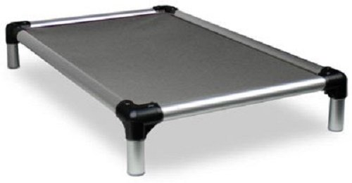 Kuranda All-Aluminum (Silver) Chewproof Dog Bed - Large (40x25) - Ballistic Nylon - Smoke