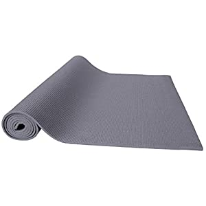 """BalanceFrom GoYoga All Purpose High Density Non-Slip Exercise Yoga Mat with Carrying Strap, 1/4"""", Grey"""