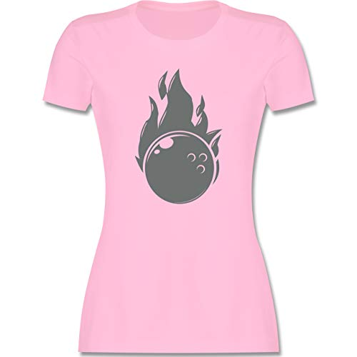 Bowling & Kegeln - Bowling Flammen Ball Einfarbig - M - Rosa - L191 - Damen T-Shirt Rundhals