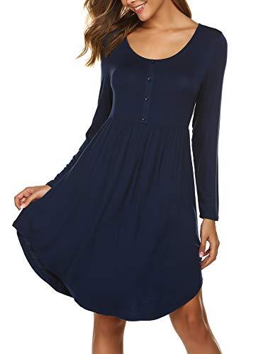 Parabler Damen Kleid Langarm A-Linie T-Shirt Kleider Swing Tunikakleid Lose Fit Blusenkleider Knielang (Navy Blau, M)