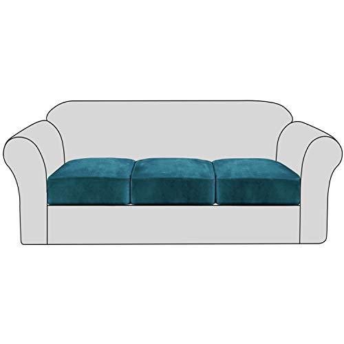 H.VERSAILTEX Velvet Stretch Couch Cushion Cover Plush Cushion Slipcover for Chair Loveseat Sofa Cushion Furniture Protector Seat Cushion Sofa Cover with Elastic Bottom Washable (3 Packs, Deep Teal)