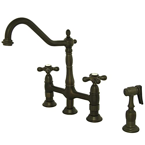 Kingston Brass KS1275AXBS Heritage 8' Kitchen Faucet with Brass Sprayer, Oil Rubbed Bronze, 8-3/4'...