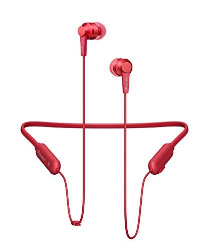 Pioneer SE-C7BT(R) Cuffie Hifi In-Ear (Custodia in alluminio, pannello di controllo, microfono, Bluetooth, NFC, riproduzione 7 ore, compatto e conveniente, per iPhone, smartphone Android), rosso
