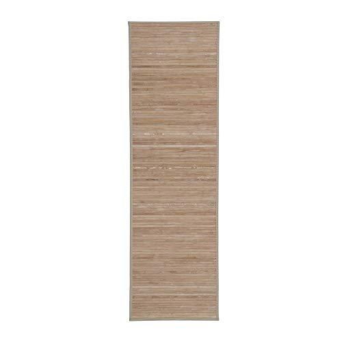 Alfombra Pasillera, Dormitorio o Salón de Madera Bambú(Natural con Efecto Lavado, 60 x 200 cm)