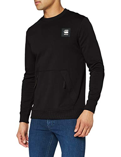 G-STAR RAW Mens Box Logo Pocket Tweater Sweatshirt, dk Black C584-6484, M