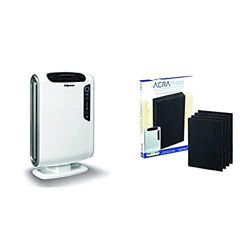Fellowes 9393501 Purificatore d'Aria Modello Aeramax DX55, Bianco + Fellowes 9324101 Filtro al Carbone per Purificatore d'Aria Modello Aeramax DX55, Confezione da 4 Pezzi