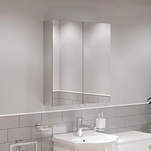 Artis Double Door Bathroom Mirror Cabinet Cupboard Stainless Steel Wall Mounted 600mm