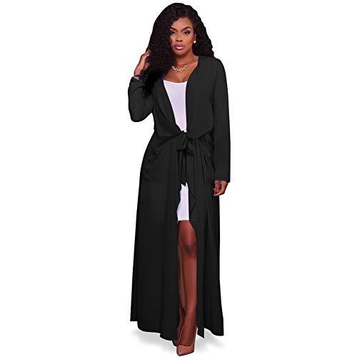 YYH vrouwen chiffon vesten lichtgewicht lange mouw waterval open voor lange vest badpak strand jurk XL Zwart