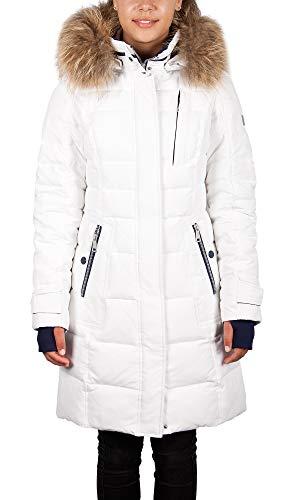 Grimada P523 dames donsjas winterjas SNOWIMAGE met echte bontcapuchon wit