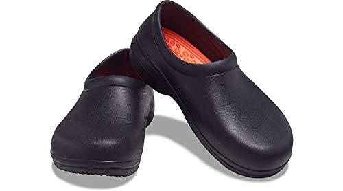 Crocs Unisex Men's and Women's On The Clock LiteRide Clog | Slip Resistant Work Shoes, Black, 13 US