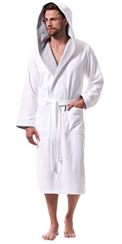 Morgenstern Bademantel für Herren aus Baumwolle mit Kapuze in Weiß mit Grau Bade Mantel knöchellang Herren Bademantel Velours Grösse L