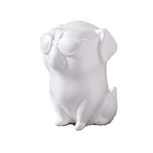 Black And White Ceramic Craft Bulldog Statue Animal, 0.5 Kg Gold Wing Black Dog Art Ceramic Animal Statue, Craft Modern Home Living Room Business Luxury Christmas Day Gift Decorative Animal Statue