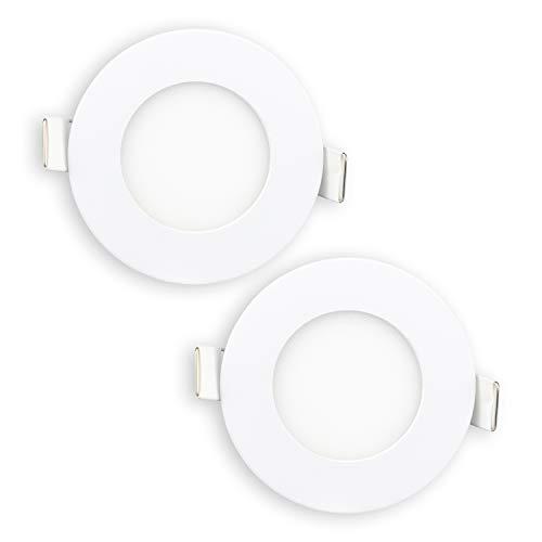 POPP- Lot de 2 plafonniers LED ronds 3 W lumière froide, puce OSRAM (6 000 K, 3 W) [Classe d'efficacité énergétique A+]