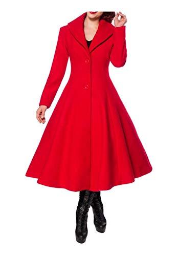 Belsira Damen Vintage-Wollmantel mit Schalkragen XL