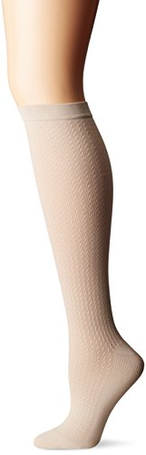 Dr. Scholl's Women's Travel Knee High Socks with Graduated Compression, Khaki, Shoe Size: 8-10