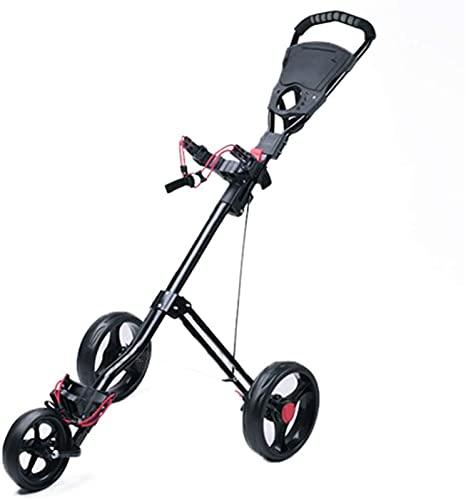 Carrito de Golf Carretilla 3 rueda ligera plegable carrito de golf 3 ruedas, golf push cart carrito de golf giratorio plegable empuje pulsador carro carrito de golf, carro plegable uno segundo para ab
