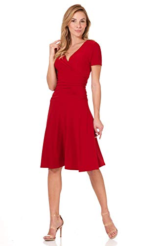 Rekucci Women's Slimming Short Sleeve Fit-N-Flare Crossover Tummy Control Dress (18, Cherry)
