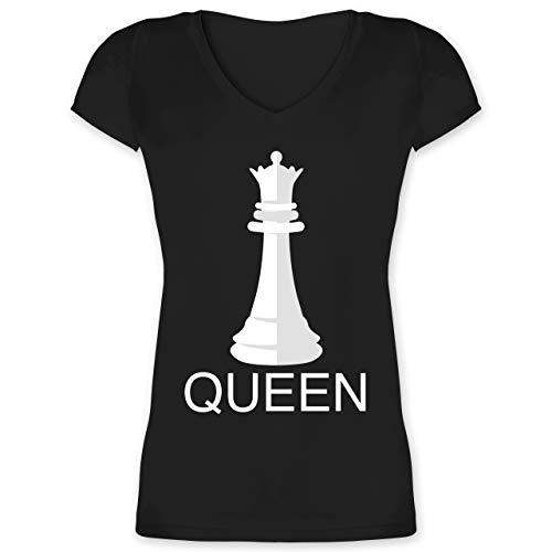 Karneval & Fasching - Queen Schachfigur Karneval Kostüm - 3XL - Schwarz - schachfigur Dame t-Shirt - XO1525 - Damen T-Shirt mit V-Ausschnitt