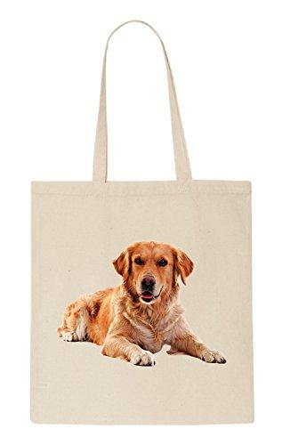 Golden Retriever Dog Funny natürliche organische Tasche / natural organic Bag (Beige
